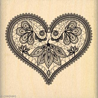 Tampon bois Coeur dentelle - 50 x 50 mm