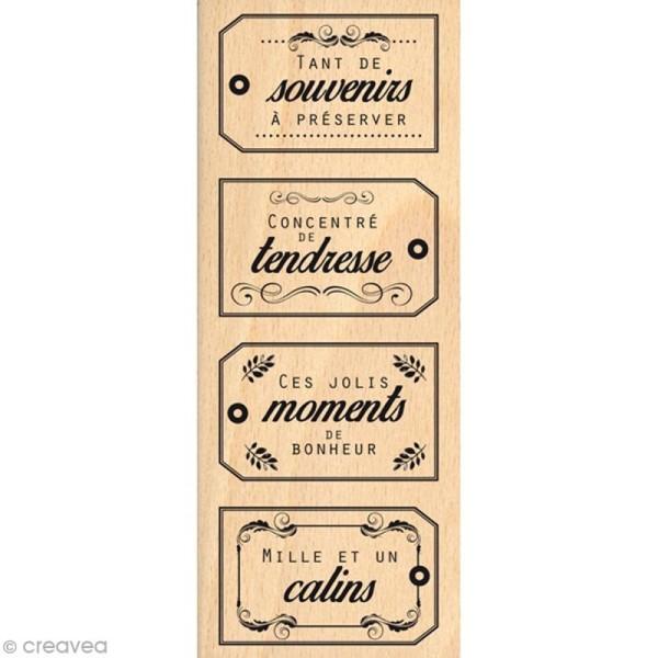 Tampon bois Souvenirs câlins - 60 x 150 mm - Photo n°1