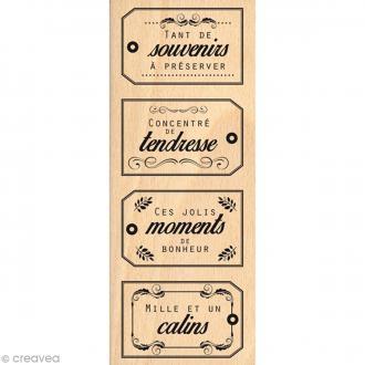 Tampon bois Souvenirs câlins - 60 x 150 mm