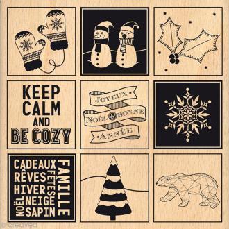 Tampon bois Etiquettes hivernales - 100 x 100 mm