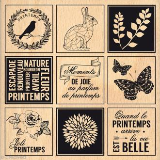 Tampon bois Etiquettes printannières - 100 x 100 mm