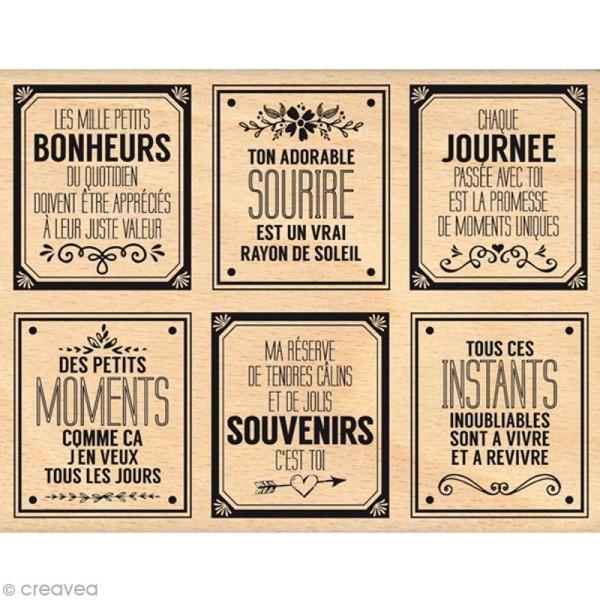 Tampon bois Bonheurs du quotidien - 100 x 130 mm - Photo n°1