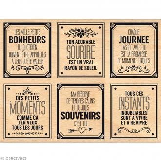 Tampon bois Bonheurs du quotidien - 100 x 130 mm