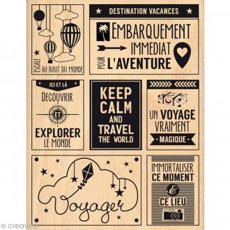 Tampon bois Voyage magique - 100 x 130 mm