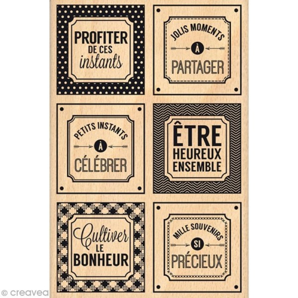 Tampon bois Instants si précieux - 100 x 150 mm - Photo n°1