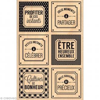 Tampon bois Instants si précieux - 100 x 150 mm