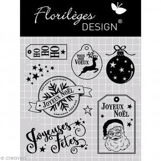 Tampon clear Florilèges Design Noël - Joyeuses fêtes - 8 tampons