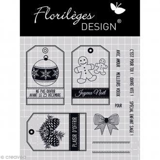 Tampon clear Florilèges Design Noël - Etiquettes de Noël - 11 tampons
