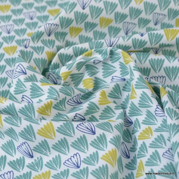Tissu coton imprimé Ecailles indigo, moutarde et vert - Photo n°2