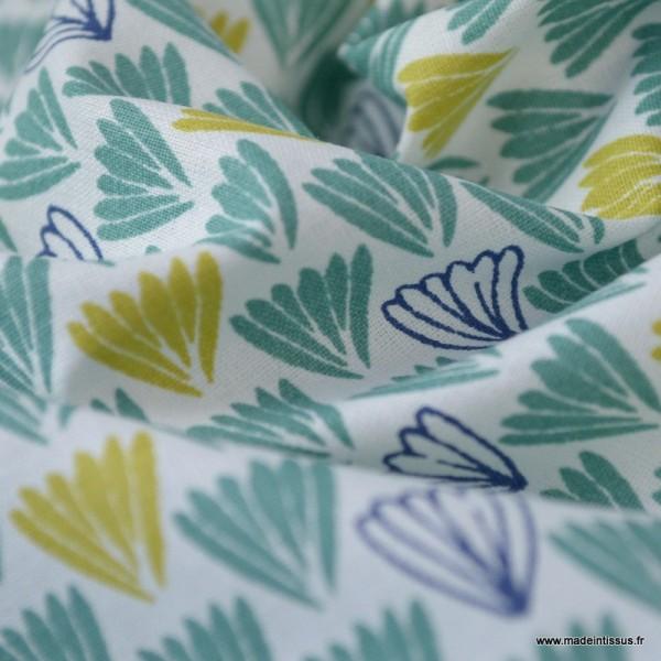 Tissu coton imprimé Ecailles indigo, moutarde et vert - Photo n°3