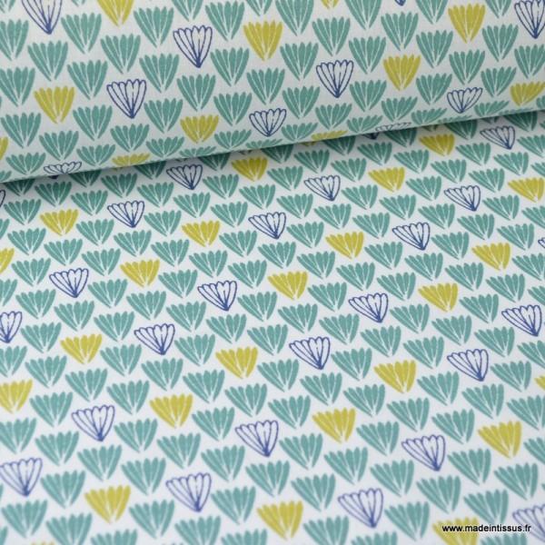 Tissu coton imprimé Ecailles indigo, moutarde et vert - Photo n°1