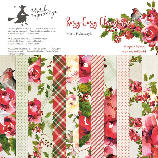 12 papiers imprimés scrapbooking 30 x 30 cm PIATEK ROSY COSY CHRISTMAS - Photo n°1