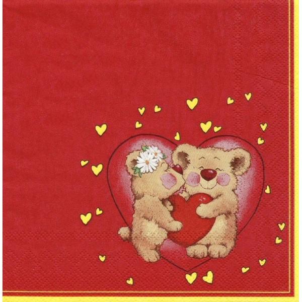 4 Serviettes en papier Nounours Amour Format Lunch SDWA-000201 Daisy Decoupage Decopatch - Photo n°1