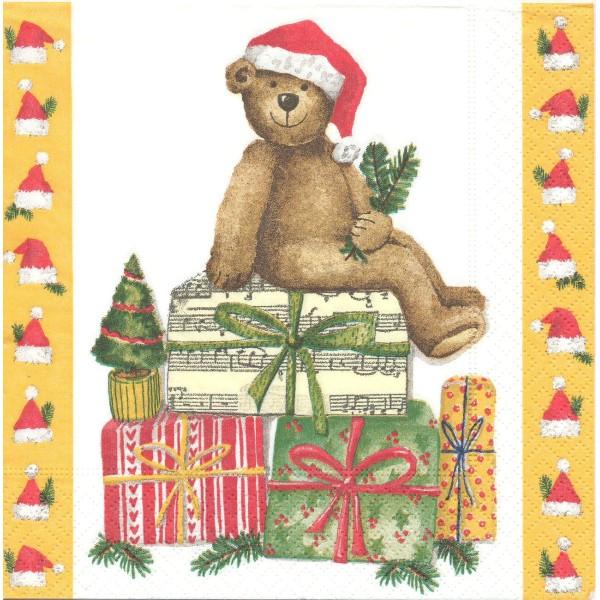 4 Serviettes en papier Jouets Ours en peluche Noël Format Lunch Decoupage LC0177 Colourful Life - Photo n°1