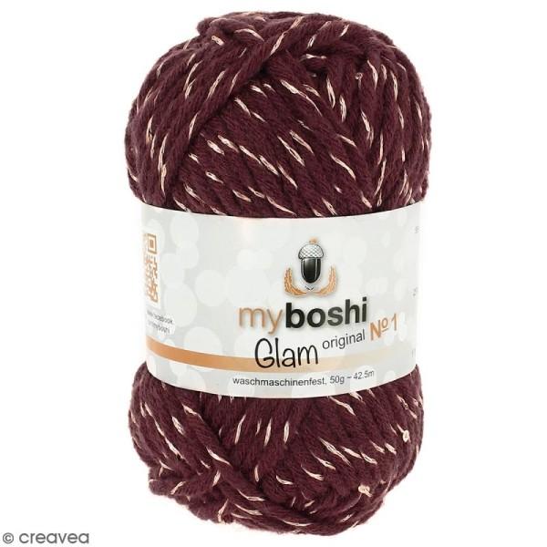 Laine à crocheter My Boshi Glam - Pluton (Bordeaux) - 50 g - Photo n°1