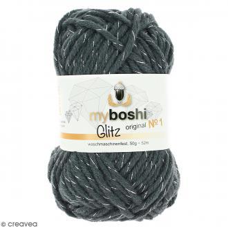 Laine à crocheter My Boshi Glitz - Mondstein (Gris) - 50 g