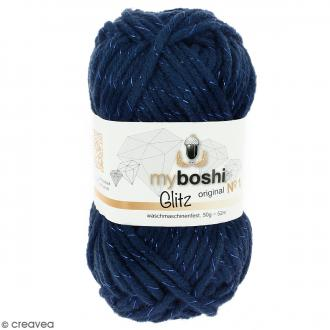 Laine à crocheter My Boshi Glitz - Kyanit (Bleu nuit) - 50 g
