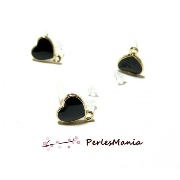 PS11103206 PAX 4 boucle d'oreille puces style emaille Coeur Noir avec attache doré - Photo n°1