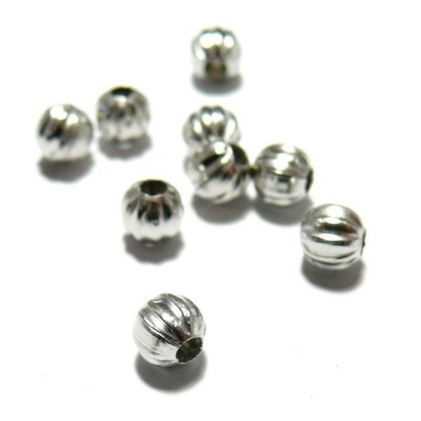 LOT de 300 PERLES RONDES INTERCALAIRES 2,4mm METAL ARGENTE SANS NICKEL bijoux