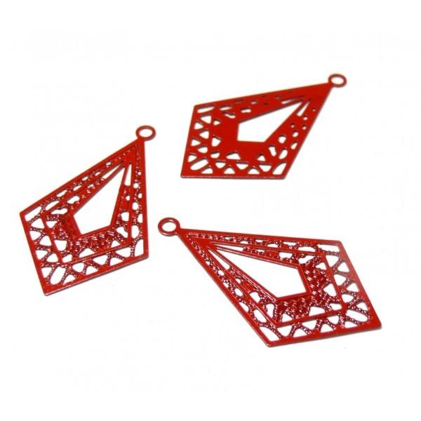 AE11778 Lot de 4 Estampes pendentif filigrane Chandeliers Losange Rouge 19 par 32mm - Photo n°1
