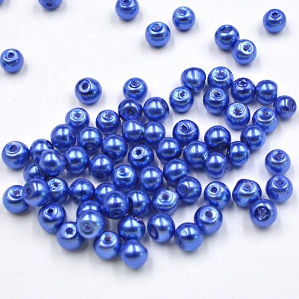 Lot 30 Perle imitation en Verre 6mm Bleu Foncé Brillant creation Bijoux, Bracelet - Photo n°1