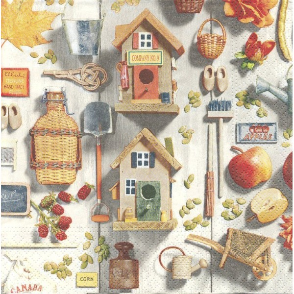 4 Serviettes en papier Décor Campagnard Format Lunch Decoupage Decopatch 74441 Nouveau - Photo n°1