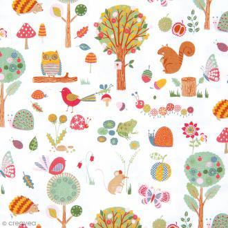 Tissu Rico Design - Animaux de la forêt - A la coupe par 10 cm (sur mesure)