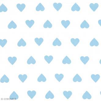 Tissu Rico Design - Coeur bleu - A la coupe par 10 cm (sur mesure)