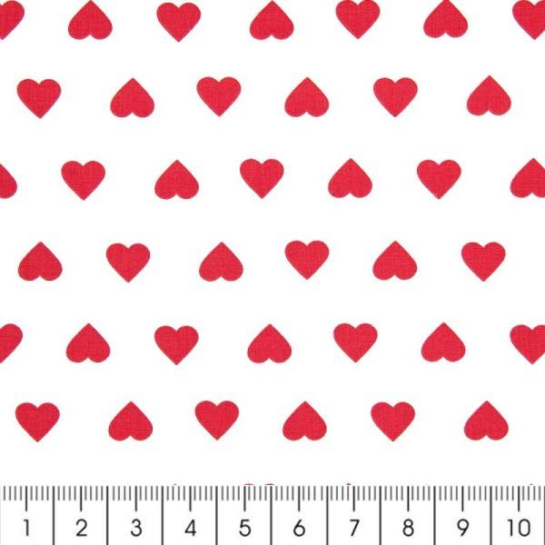 Tissu Rico Design - Coeur rouge - A la coupe par 10 cm (sur mesure) - Photo n°2