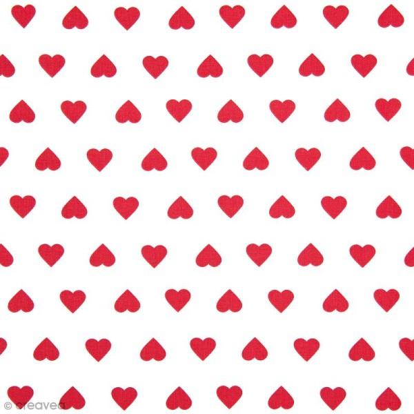 Tissu Rico Design - Coeur rouge - A la coupe par 10 cm (sur mesure) - Photo n°1