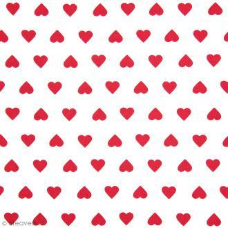Tissu Rico Design - Coeur rouge - A la coupe par 10 cm (sur mesure)