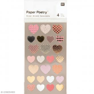 Stickers métallisés - Coeurs - 100 pcs