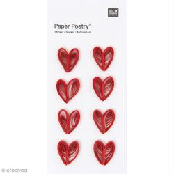 Stickers Quilling Coeurs rouges - 8 pcs