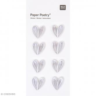 Stickers Quilling Coeurs blancs - 8 pcs