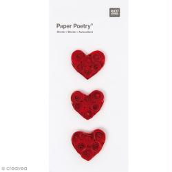 Stickers Quilling Grand coeur rouge - 3 pcs