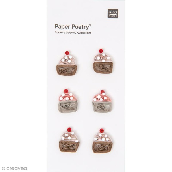 Stickers Quilling Cupcake - 6 pcs - Photo n°1