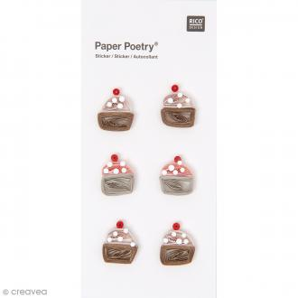 Stickers Quilling Cupcake - 6 pcs
