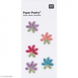 Stickers Quilling Fleurs multicolores - 5 pcs