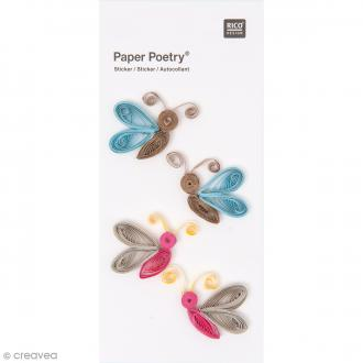 Stickers Quilling Papillons multicolores - 4 pcs