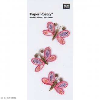 Stickers Quilling Papillons roses - 3 pcs