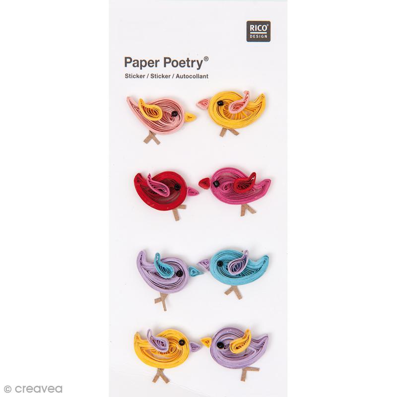 Stickers Quilling Oiseaux multicolores - 8 pcs - Photo n°1
