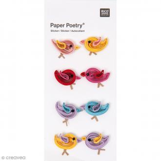 Stickers Quilling Oiseaux multicolores - 8 pcs