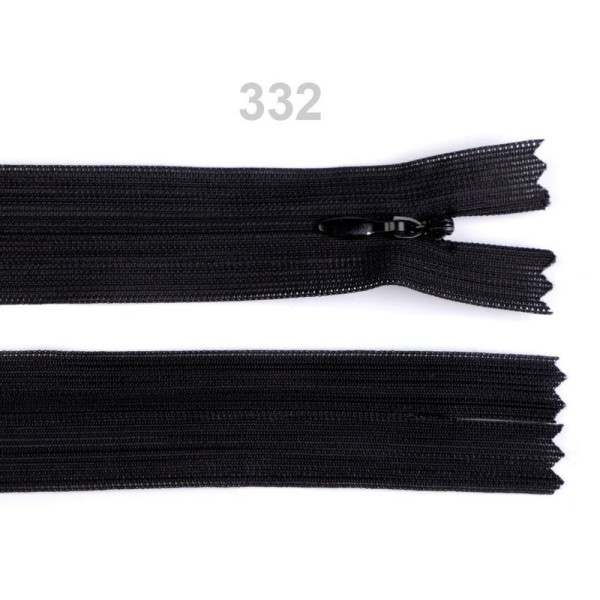 1pc 332 Noir Invisible en Nylon à fermeture éclair Largeur de 3mm Longueur 55 Cm Dederon, Bobine Bou - Photo n°1