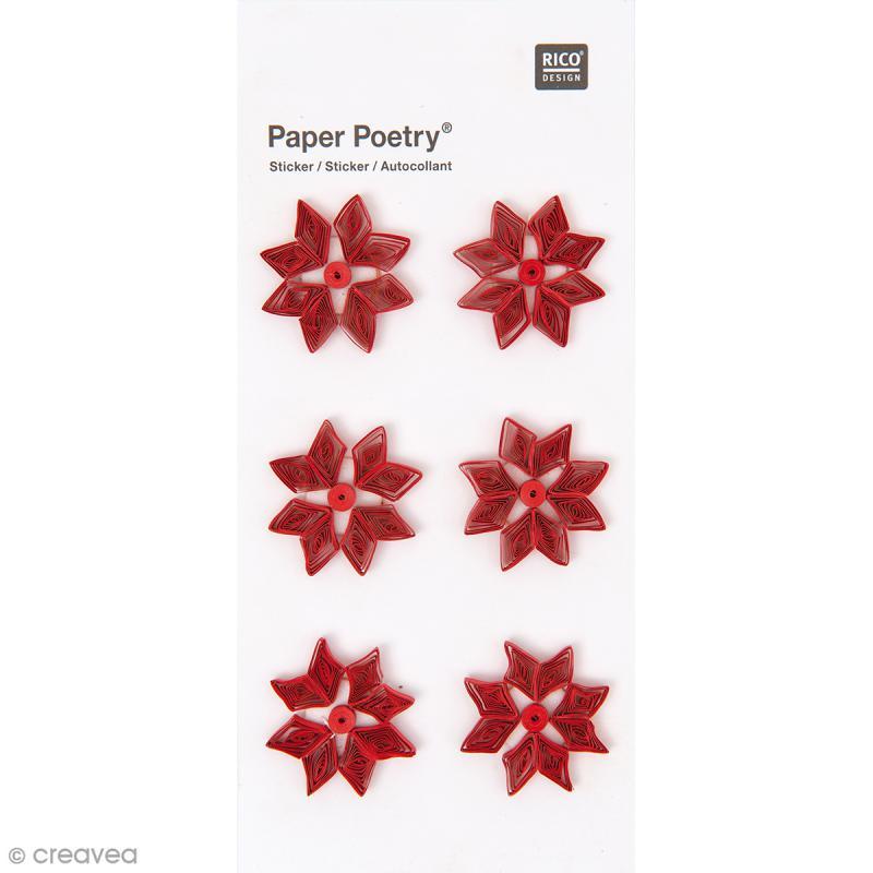 Stickers Quilling Fleurs Poinsettias - 6 pcs - Photo n°1