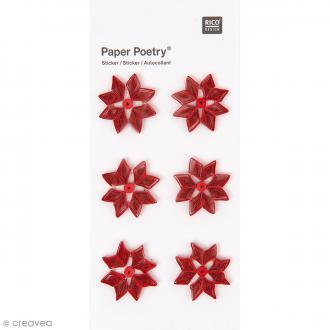 Stickers Quilling Fleurs Poinsettias - 6 pcs