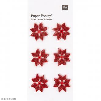 Stickers Quilling Fleurs Poinsettias - 6 pcs