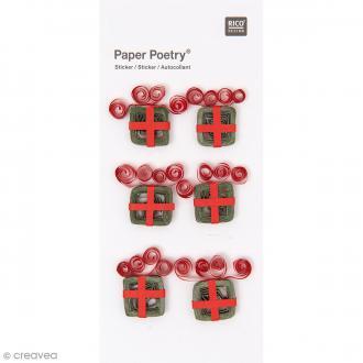 Stickers Quilling Cadeaux de Noël - 6 pcs