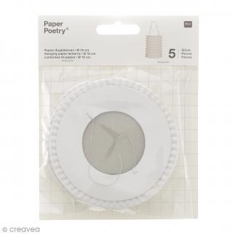 Lanternes en papier - Blanc - 10 x 14 xm - 5 pcs