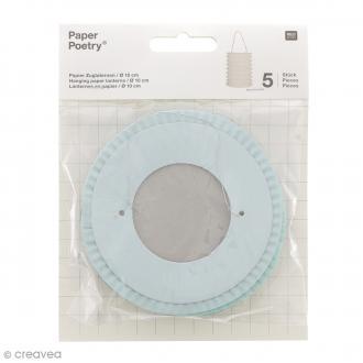 Lanternes en papier - Aqua - 10 x 14 xm - 5 pcs