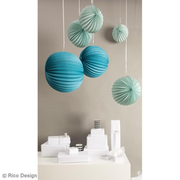 Lampions en papier - Aqua - 3 tailles - 3 pcs - Photo n°2